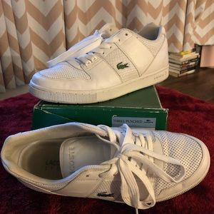Lacoste Thrill Punched white leather shoe